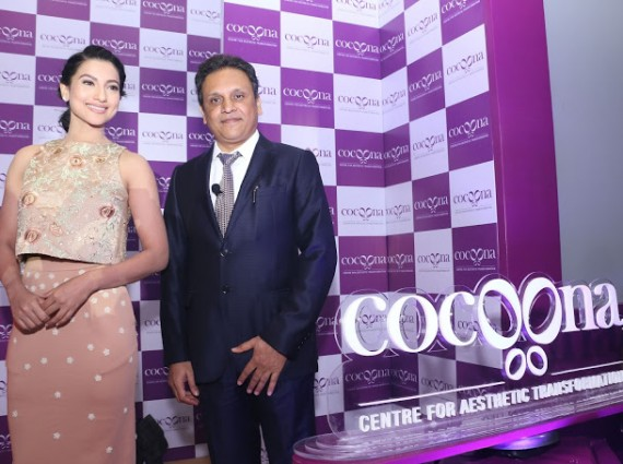 Dr. Sanjay Parashar, the brain behind Cocoona Centre for Aesthetic Transformation with Gauahar Khan during the brand launch-min